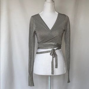 Sparkly metallic long sleeve wrap top